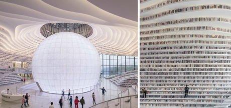 Çin'deki Tianjin Binhai Kütüphanesi, görenleri büyüledi