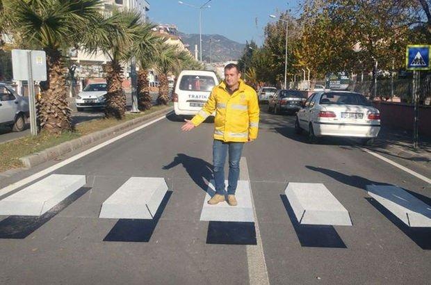 Aydın'da uygulanmaya başladı! Sürücüler bariyer zannedip yavaşlıyor
