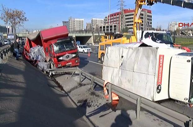 Basın Ekspres yolunda zincirleme kaza! Trafik yoğunluğu oluştu