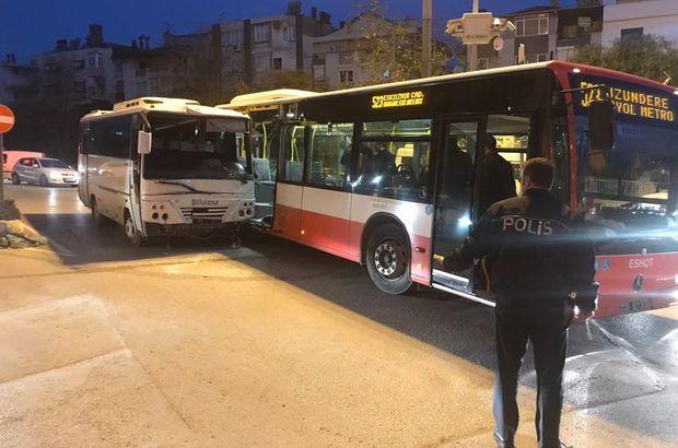İzmir'de midibüs belediye otobüsüne çarptı
