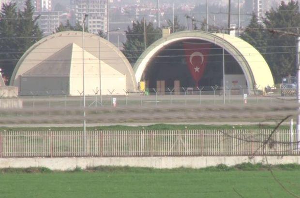 İncirlik'teki F-16 hangarına dev Türk Bayrağı asıldı
