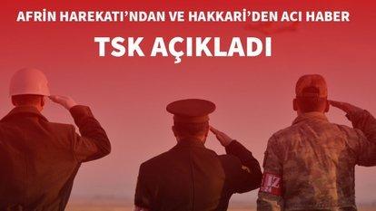 Afrin Harekatı'ndan ve Hakkari'den acı haber! TSK açıkladı