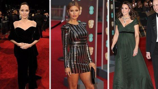 BAFTA kırmızı halı töreninde şıklık yarışı.. Yine siyah giyindiler