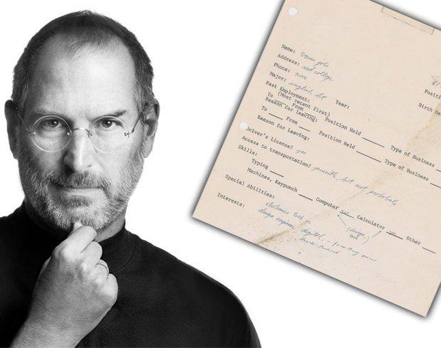 Steve Jobs'ın imzalı iş başvurusu açık artırmada!