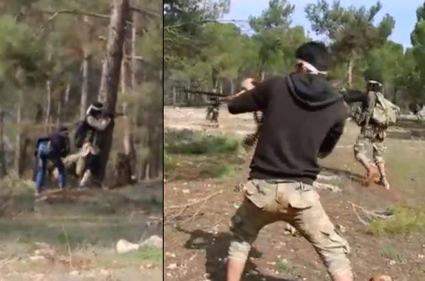 Afrin'de teröristlere ait kamptaki çatışma anı kamerada! (Son dakika)