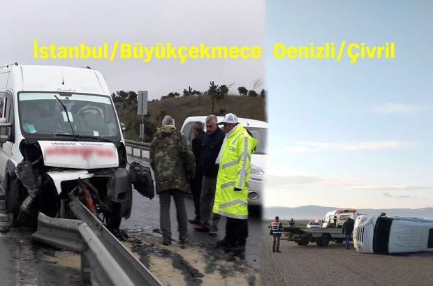 Biri İstanbul'da, diğeri Denizli'de iki okul servisi kazası