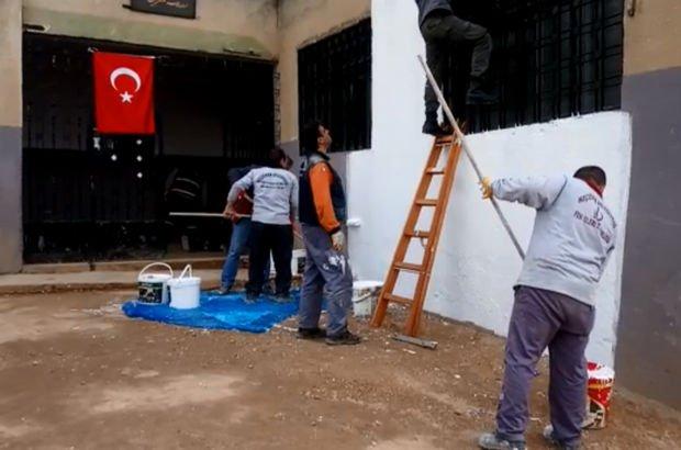 Afrin kırsalında kullanılamayan okullarda onarım başladı