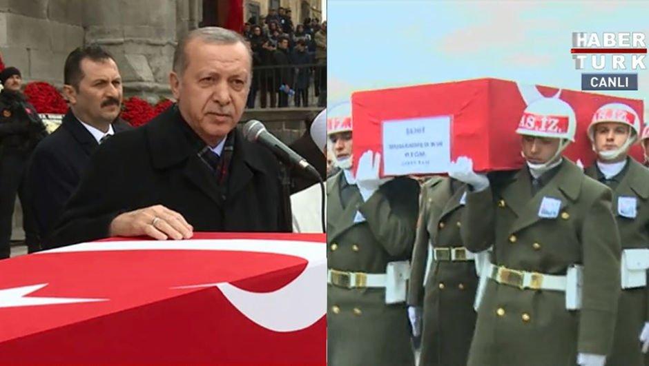 Erdoğan'dan şehit cenazesinde Afrin mesajı: Müjde yaklaşıyor