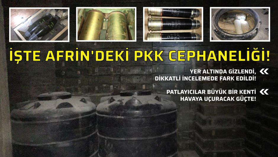 İşte Afrindeki PKK cephaneliği!