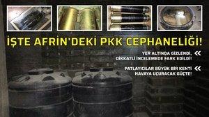 İşte Afrin'deki PKK cephaneliği!
