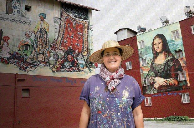 Ressam Nazife Bilgin Hazar Mersin'de bir binaya Mona Lisa'yı çizdi