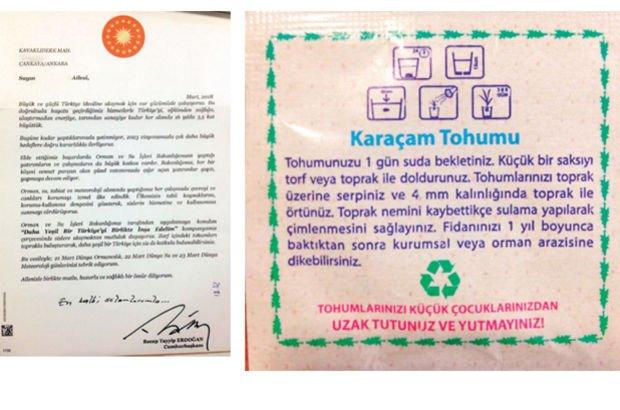 Cumhurbaşkanı Erdoğan'dan 'tohum'lu yeşil Türkiye mektupları