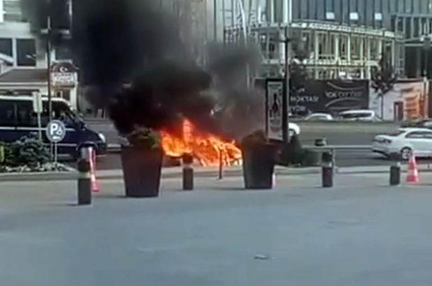 Başkentte bir araç alev alev yandı