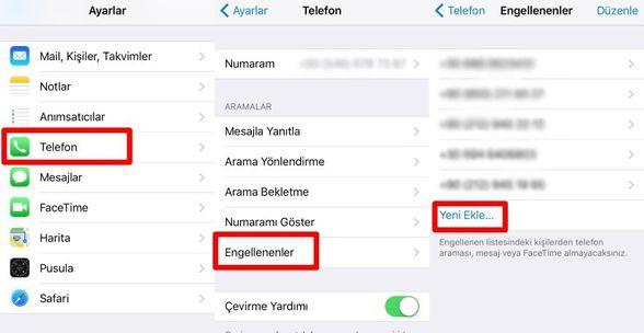 Bir telefon numarasını, kişiyi veya e-postayı engelleme