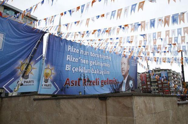 Erdoğan'ın Rize Mitingi'nde İnce ve Akşener pankartlı gönderme