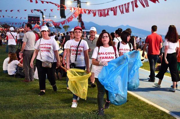 İzmir mitinginin ardından mıntıka temizliği