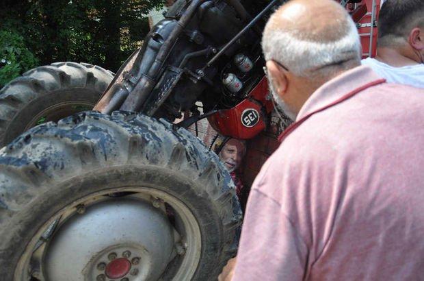 Sürücü, römork ile traktör arasında sıkıştı
