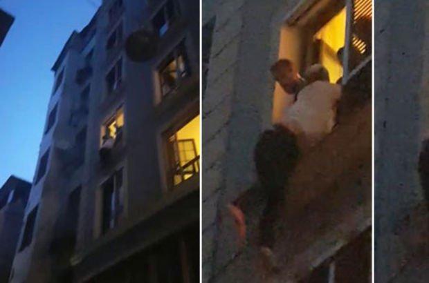 Son dakika! Beyoğlu'nda intihar girişiminde müdahale eden polisin kolu çıktı! İşte o anlar...