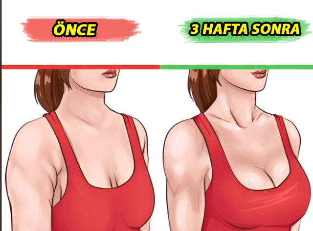 Koltuk altı sarkmasından kurtaran, koltuk altını sıkılaştırıp göğüsleri dikleştiren egzersiz