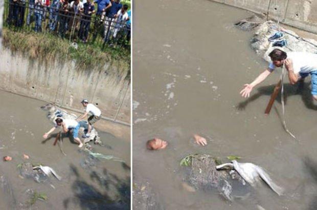 Dengesini kaybetti atık su kanalına düştü