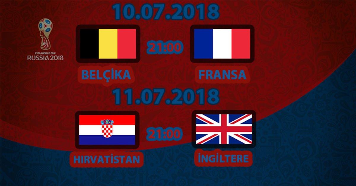 2018 Dünya Kupası yarı final eşleşmeleri, Dünya Kupası yarı final? Fransa-Belçika maçı hangi ...