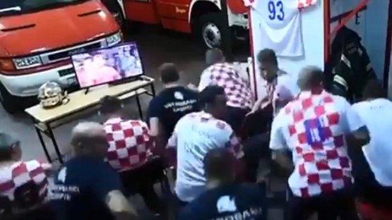Hırvat itfaiyecilerin Dünya Kupası heyecanı... Son gol 'yandı'