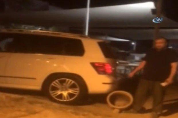 Lüks jeepli saksı hırsızı kadın kaçmaya çalışırken görüntülendi