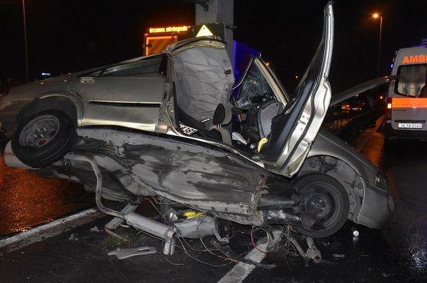 Sefaköyde otomobil yön levhası direğine çarptı 1 kişi öldü