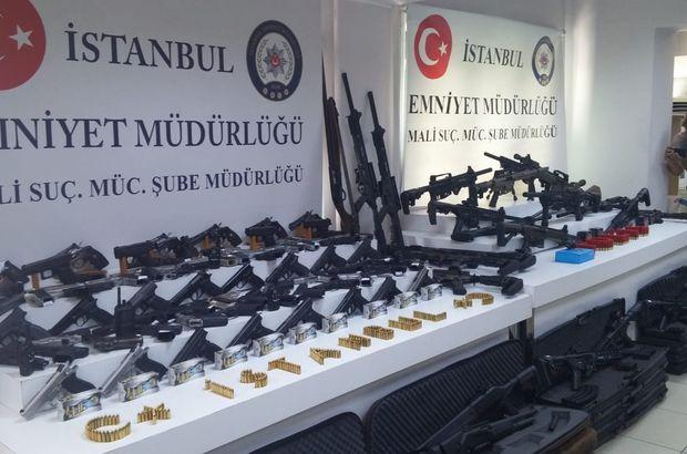 Adnan Oktar operasyonunda ele geçirilen silahlar sergilendi
