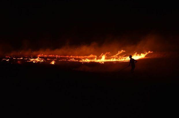 Kırıkkale'de tarım arazinde korkutan yangın!