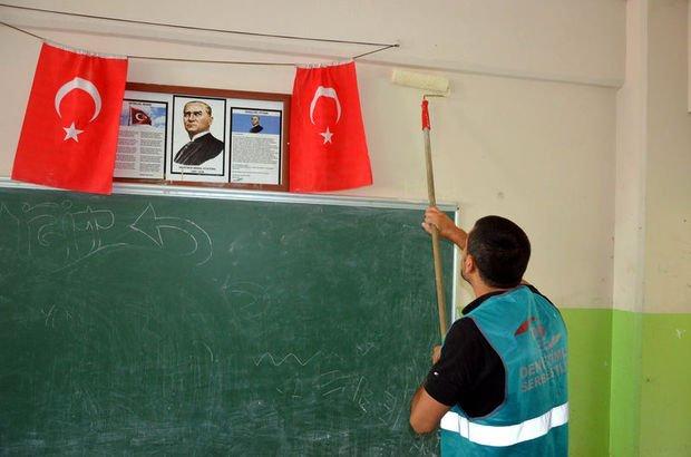 Cezalarını okulları boyayarak çekiyorlar