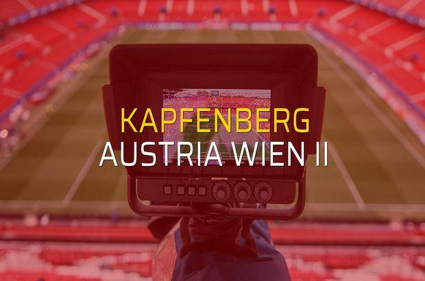 Kapfenberg - Austria Wien II maçı istatistikleri