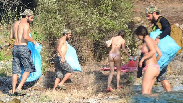 Kadir Doğulu ve Neslihan Atagül kamp kurup, çöp topladı - Magazin haberleri