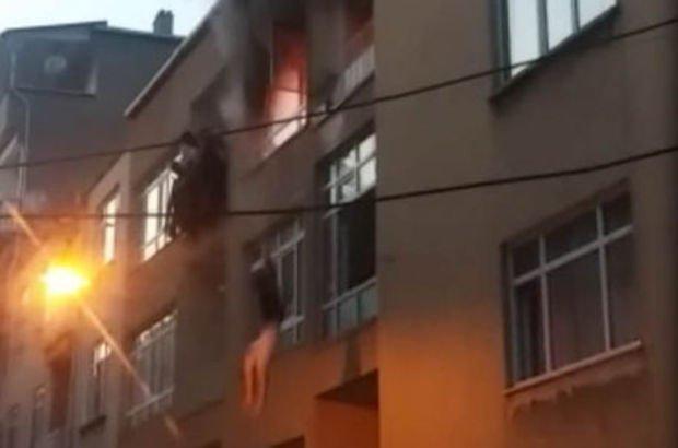 Kadınların balkondan atlama anını vatandaşlar kaydetti