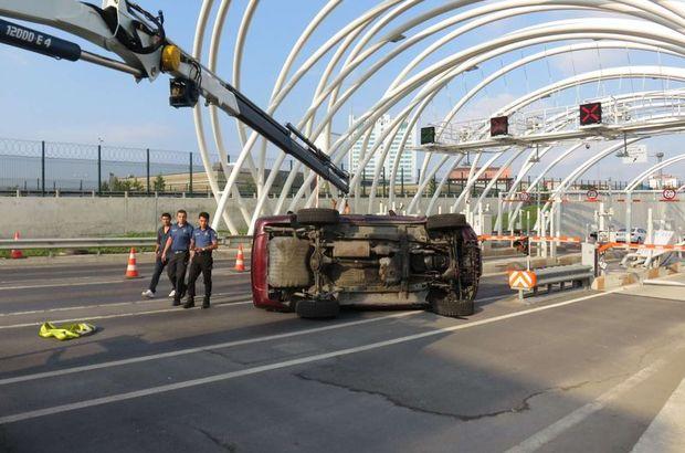Avrasya Tüneli girişinde feci kaza! Uzun araç kuyrukları oluştu