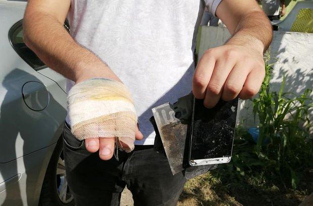 Patlayan cep telefonu yaraladı