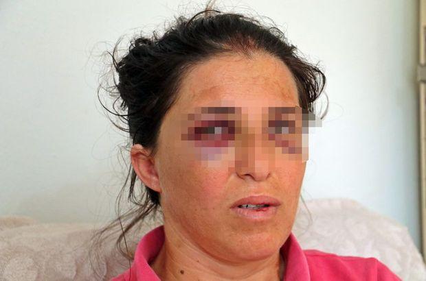 Çocuklarının gözü önünde tekme tokat dövdü
