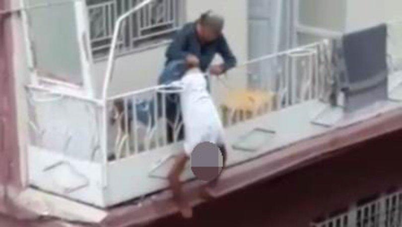 Eşini ve kendini vurduktan sonra balkon korkuluğunda asılı kaldı