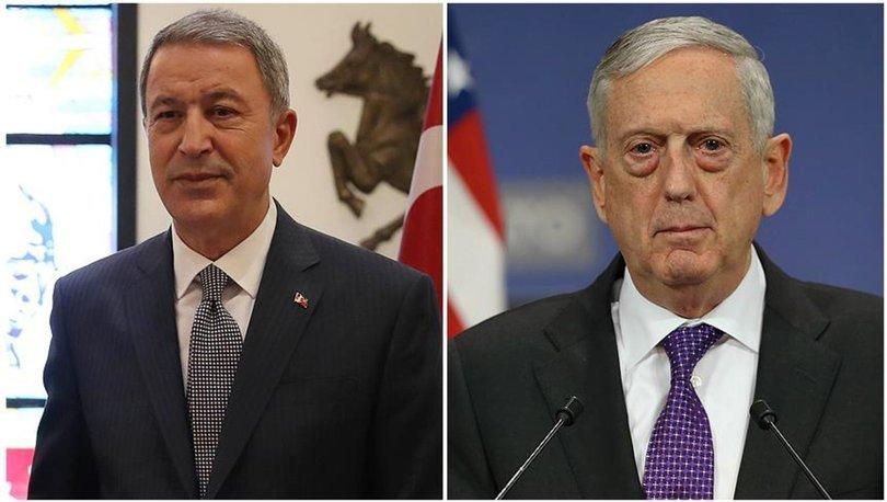 Son dakika... Milli Savunma Bakanı Akar, Mattis ile telefonda görüştü