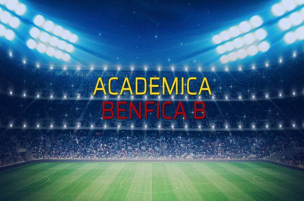 Academica - Benfica B maçı öncesi rakamlar