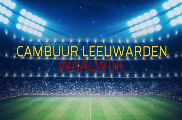 Cambuur Leeuwarden - Waalwijk maçı rakamları