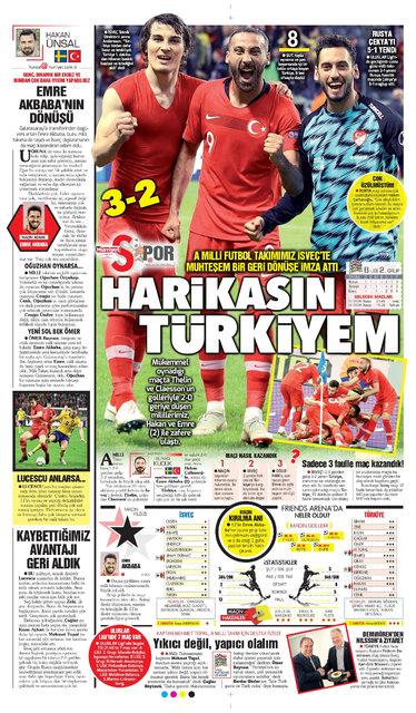 Günün spor manşetleri… (11 Eylül 2018)