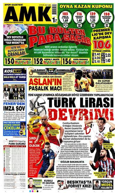 Günün spor manşetleri… (14 Eylül 2018)