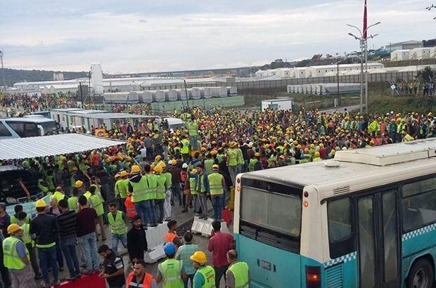 Yeni Havalimanı inşaatında iş bırakma eylemi
