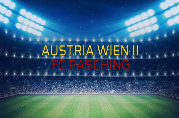 Austria Wien II - FC Pasching maçı öncesi rakamlar