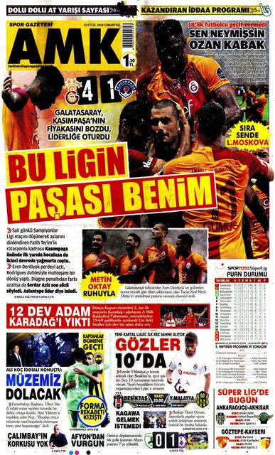 Günün spor manşetleri… (15 Eylül 2018)