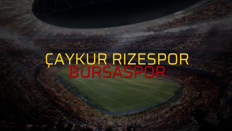 Çaykur Rizespor - Bursaspor maçı öncesi rakamlar