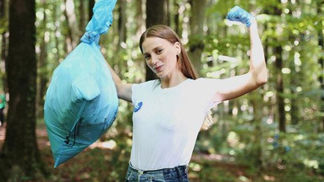 Serenay Sarıkaya çöp topladı - Magazin haberleri