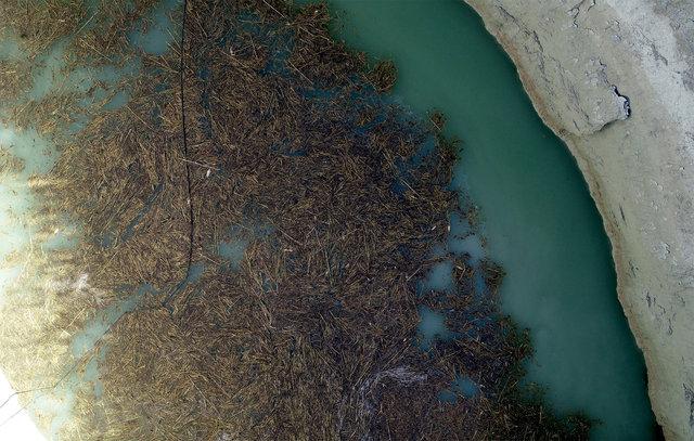 Karapınar'daki obruklar havadan görüntülendi