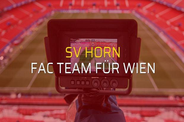 SV Horn - FAC Team für Wien maçı heyecanı